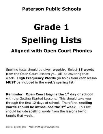 Grade 1 Spelling Lists - Paterson Public Schools