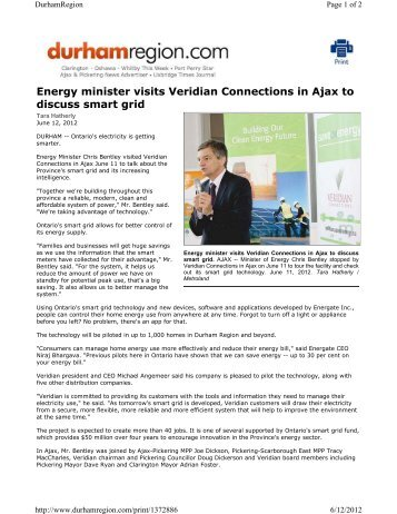 Energy minister visits Veridian Connections in Ajax to discuss smart ...