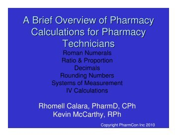 A Brief Overview of Pharmacy Calculations for Pharmacy - Free CE ...