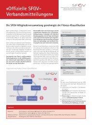 «Offizielle SFGV- Verbandsmitteilungen» - Schweizerischer Fitness