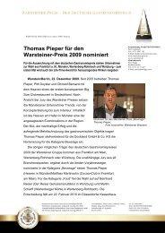 Thomas Pieper für den Warsteiner-Preis 2009 nominiert