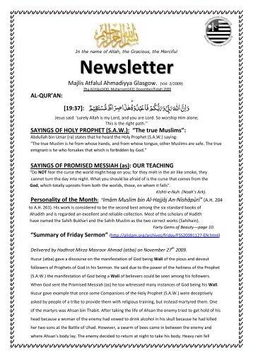 "SAYINGS OF HOLY PROPHET (SAW): ""The true Muslims"" - Majlis ..."