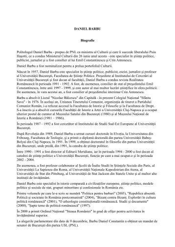 DANIEL BARBU Biografie Politologul Daniel Barbu - Politica ...