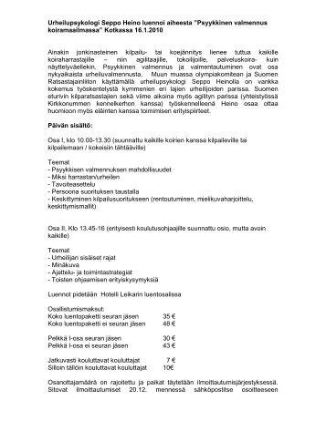 Maamme eturiviin kuuluva urheilupsykologi Seppo Heino luennoi ...