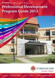 Professional Development Program Guide 2013 - St John of God ...