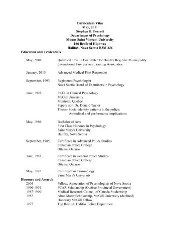 S. Perrott Curriculum Vitae - Mount Saint Vincent University