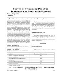 Survey of Swimming Pool/Spa Sanitizers and Sanitation Systems