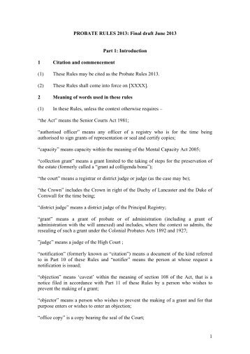 Probate rules 2013: Part 1