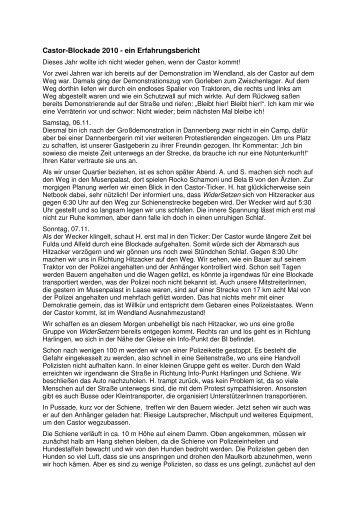 Castor-Blockade 2010 – ein Erfahrungsbericht von Ute - hanskottke.de