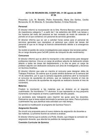 No. 8 (31 agosto) - Departamento de Química Inorgánica, Analítica y ...