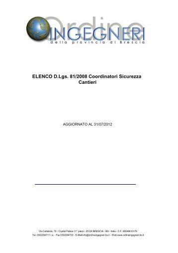 ELENCO D.Lgs. 81/2008 Coordinatori Sicurezza Cantieri