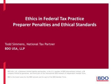 Ethics in Federal Tax Practice Preparer Penalties and Ethical ...