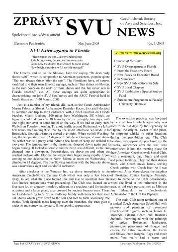 ZPRÁVY SVU, Vol. 47, No. 3, May-June 2005 - Czechoslovak ...