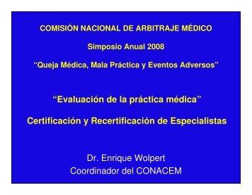 Certificación y Recertificación de Especialistas - Comisión Nacional ...
