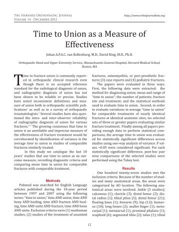 Time to Union as a Measure of Effectiveness - The Orthopaedic ...