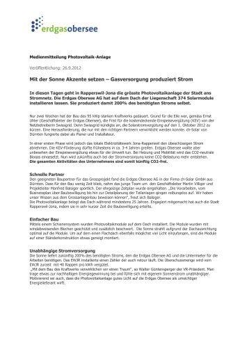 Grösste Photovoltaikanlage in Rapperswil-Jona - Erdgas Obersee AG