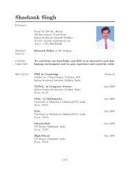 Curriculum Vitae - Indian Statistical Institute