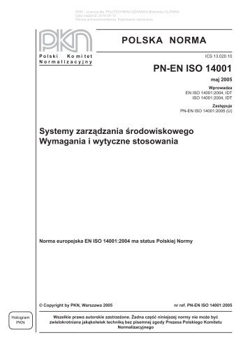 polska norma pn-en iso 14001