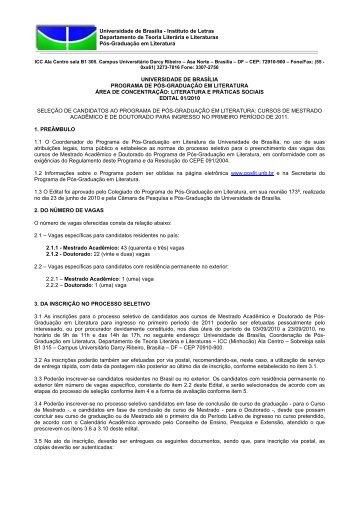Edital Selecao Mestrado e Doutorado 2011 - TEL