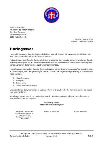 Høringssvar Sagsnr. 2009-5000-0174 udkast til ændring af BEK362 ...