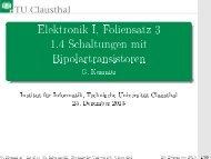 Elektronik I, Foliensatz 3 1.4 Schaltungen mit Bipolartransistoren