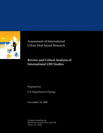 Review and Critical Analysis of International UHI Studies