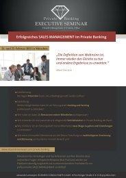 Erfolgreiches SALES MANAGEMENT im Private Banking