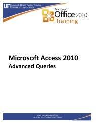Microsoft Access 2010 - Academic Health Center Training