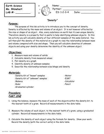 chemistry density lab report example