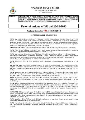 Scarica la Determina Ufficio Tecnico n. 28/2013 (Pdf 108 Kb)