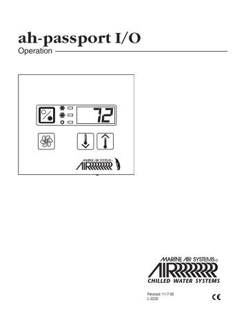 Passport IO Operation Manual  Tropical Marine Air Conditioning