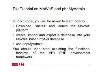 D4: Tutorial on MoWeS and phpMyAdmin - Homepages.stca.herts ...