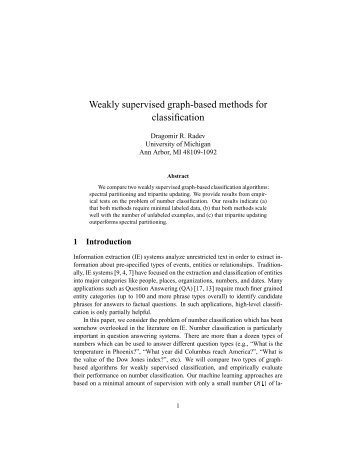 Weakly supervised graph-based methods for classification - CiteSeerX