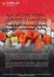 AUTOMOTIVE TESTING of INTERIOR EMISSIONS - AIMPLAS