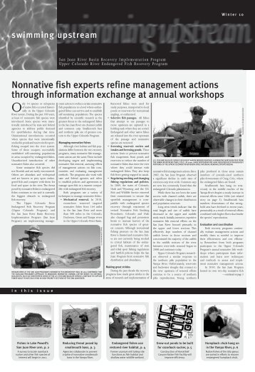 Winter 2010 newsletter - Upper Colorado River Endangered Fish ...