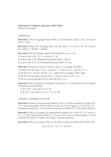 Istituzioni di Algebra superiore, 2012–2013. Esercizi per l'esame ...