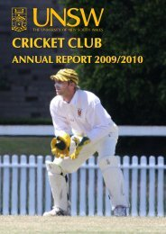 2009-10 - University of New South Wales Cricket Club