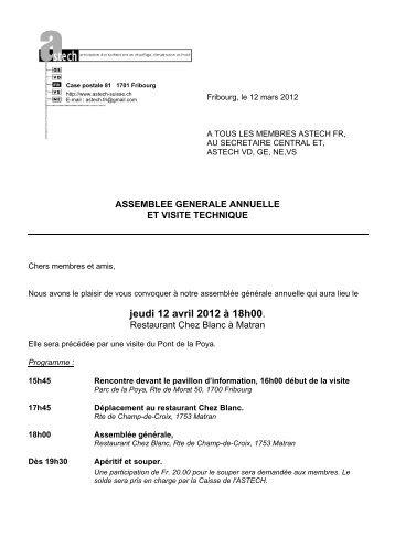 Convocation Assemblée générale - Astech