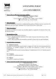 AVIS D'APPEL PUBLIC A LA CONCURRENCE - Bar-le-Duc