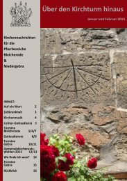 Kirchennachrichten Bleicherode&Niedergebra; Jan-Feb 2013