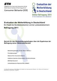 Evaluation der Weiterbildung in Deutschland Befragung 2011