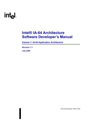 Intel® IA-64 Architecture Software Developer's Manual - Parallel.ru