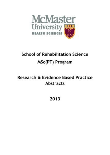 Program Research & Evidence Based Practice Abstracts 2013