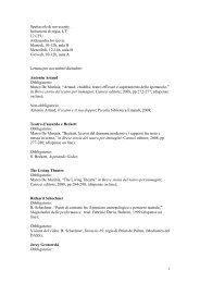 1 Spettacolo di novecento, Istituzioni di regia, LT 12 CFU ...