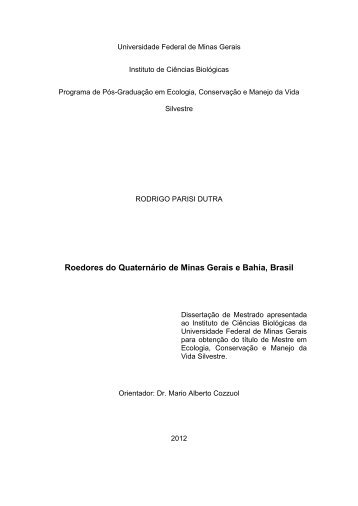 Roedores do Quaternário de Minas Gerais e Bahia, Brasil - ICB ...