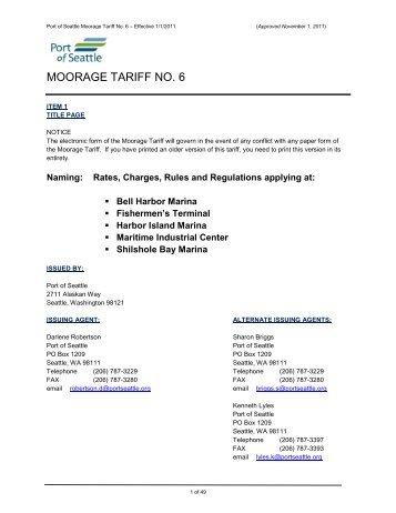 MOORAGE TARIFF NO. 6 - Port of Seattle