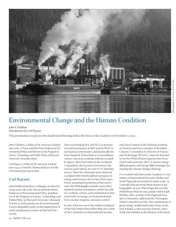 Environmental Change and the Human Condition - American ...