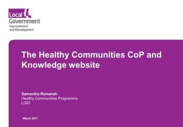 The Healthy Communities CoP and Knowledge website - VODG