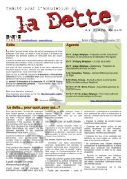Edito Agenda La dette... pour quoi, pour qui...? - cadtm