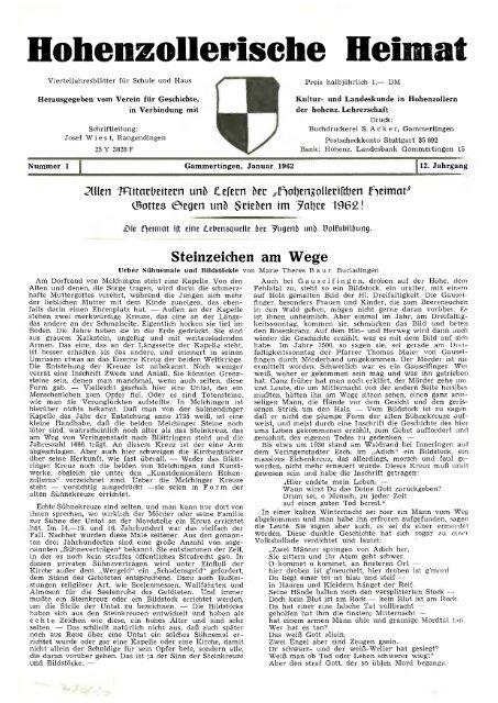 Hohenzollerische Heimat Hohenzollerischer Geschichtsverein Ev